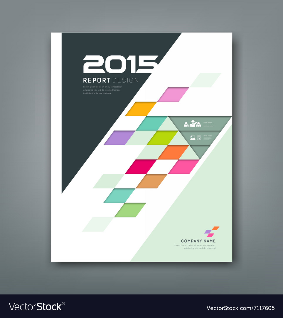 Cover annual report colorful square pattern bevel