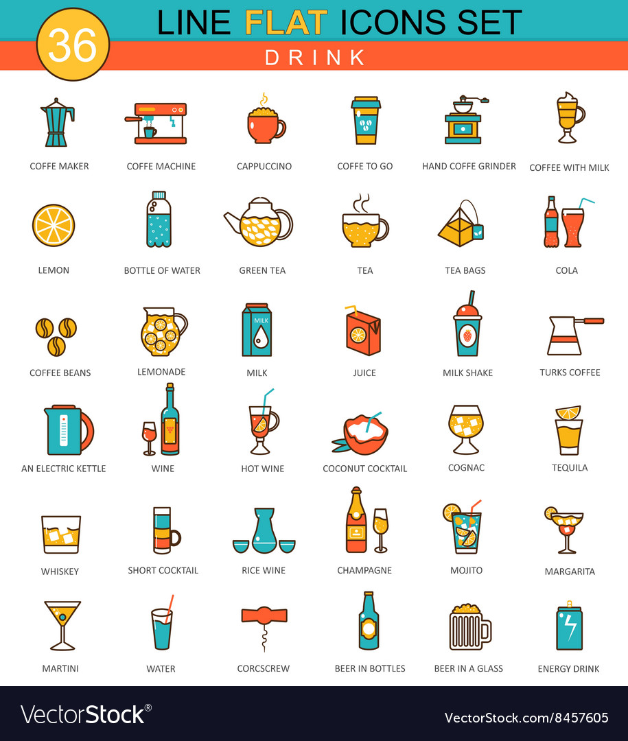 Drinks flat line icon set Coffee alcogol vector image