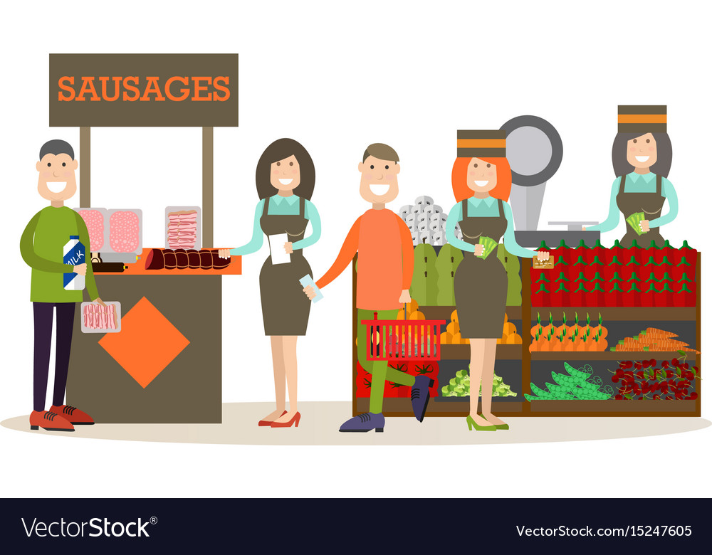 People buying groceries in