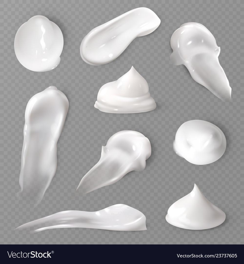 Realistic cosmetic cream smears white creamy drop