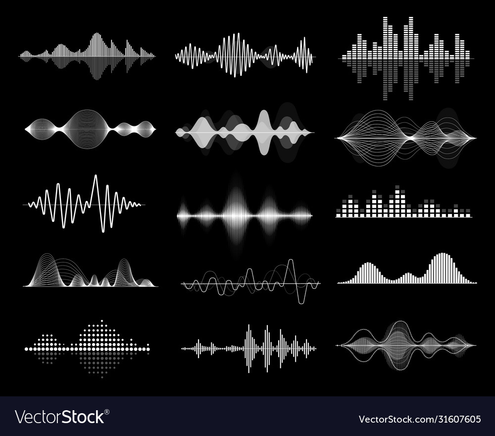 Sound wave icon set equalize audio and music