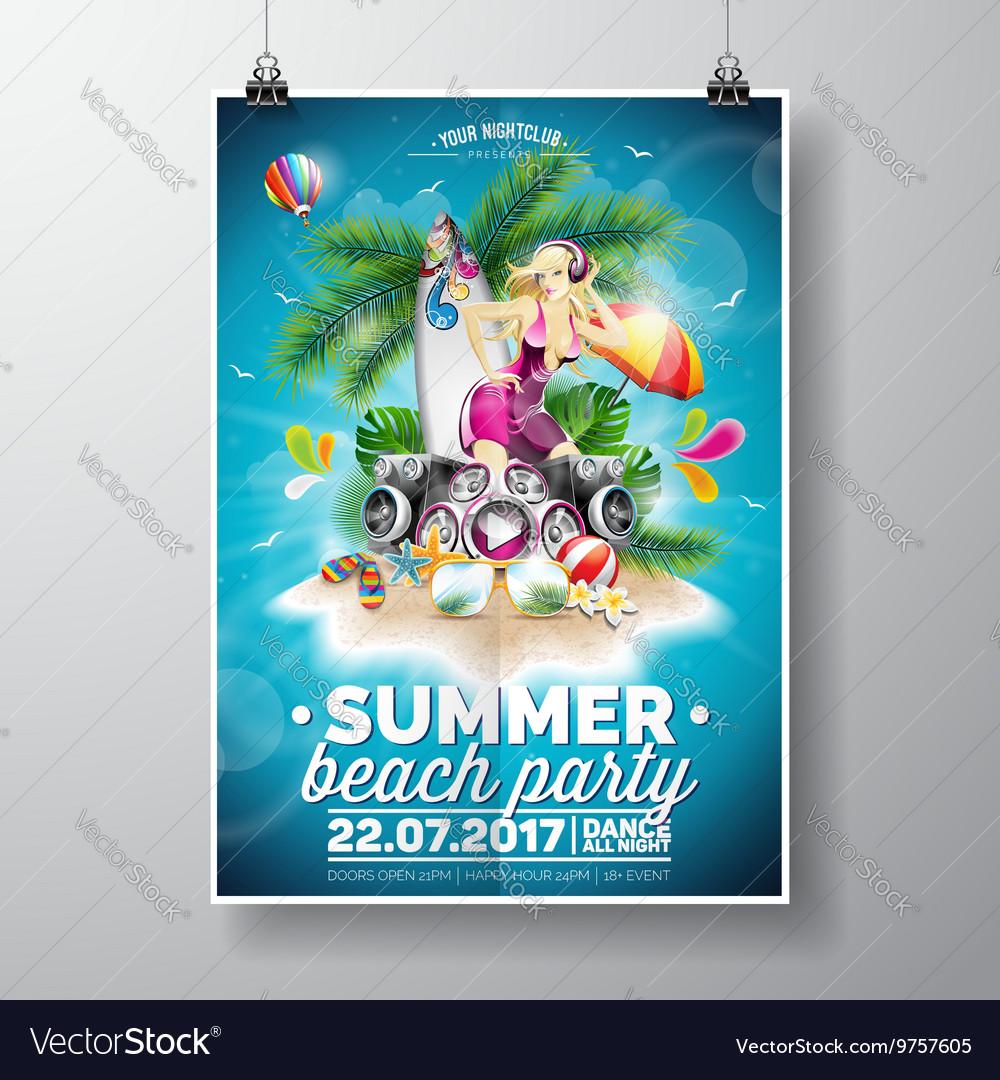 Summer Beach Party Flyer Design vector image