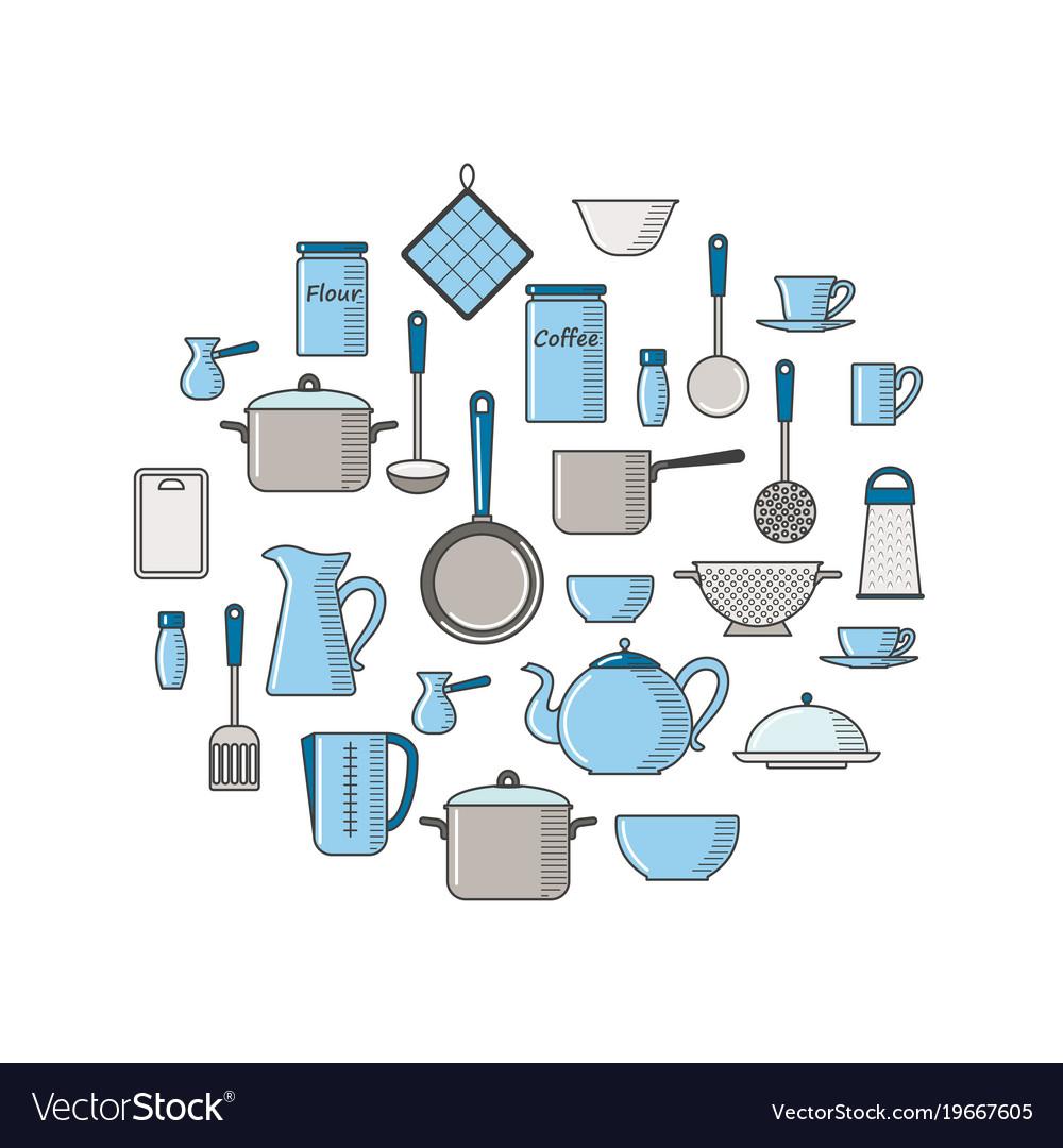 Thin line with kitchen utensils