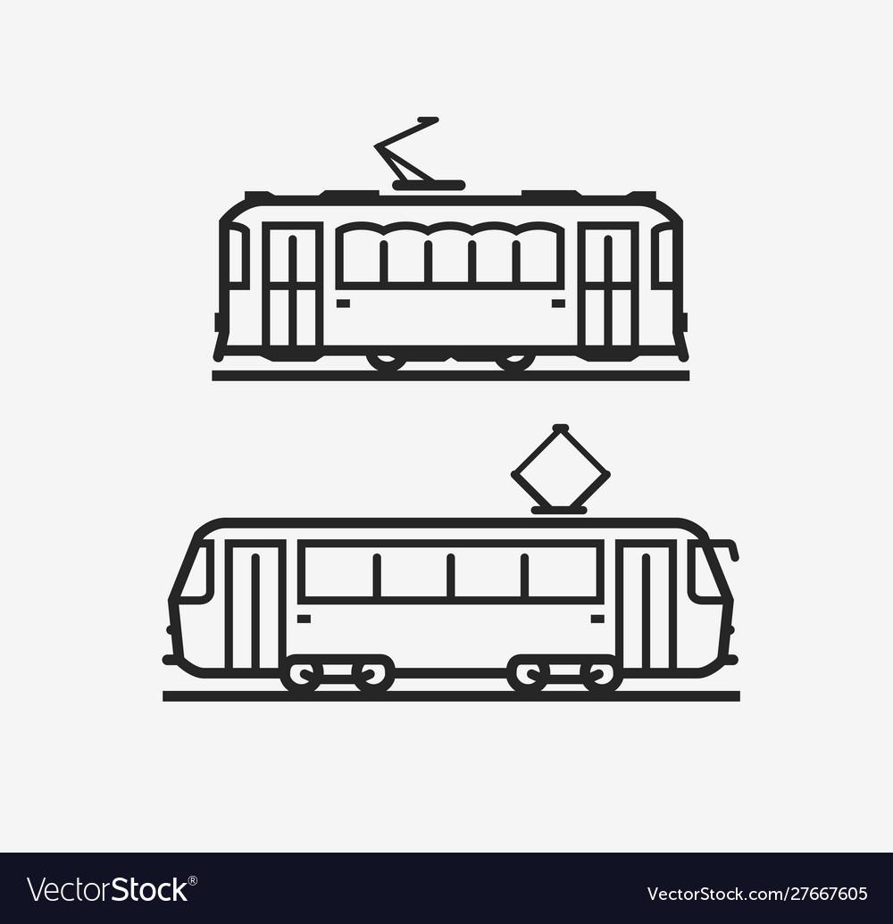 Tram icon city public transport sign