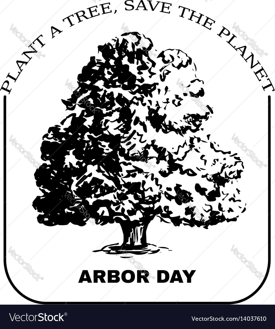 Arbor day sign with oak tree