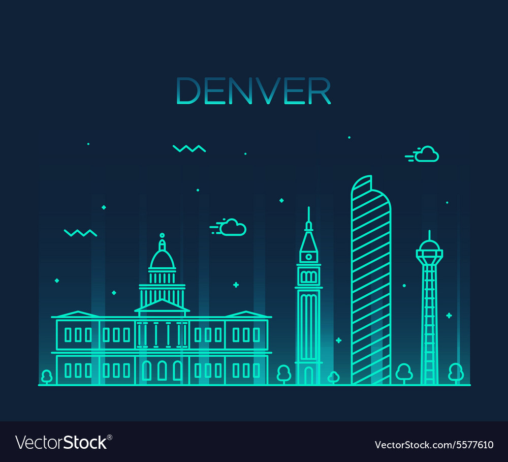 Denver skyline trendy linear