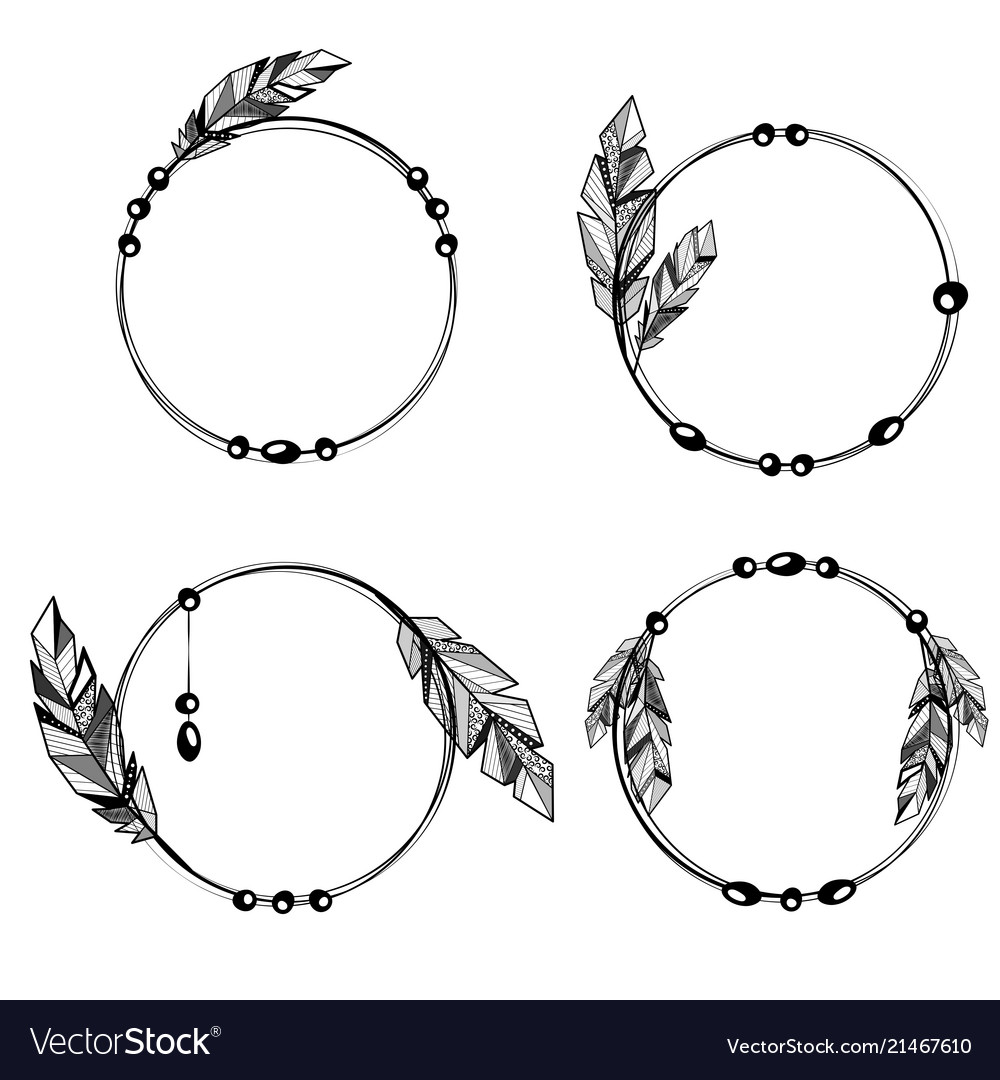 Feathers boho style circle frames Royalty Free Vector Image