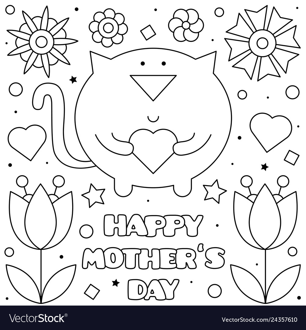 Happy Mothers Day Coloring Page Royalty Free Vector Image