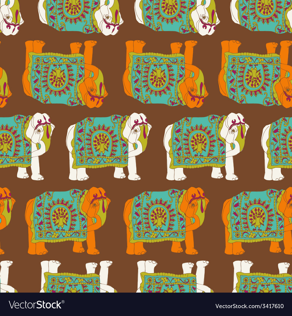 India elephant seamless pattern