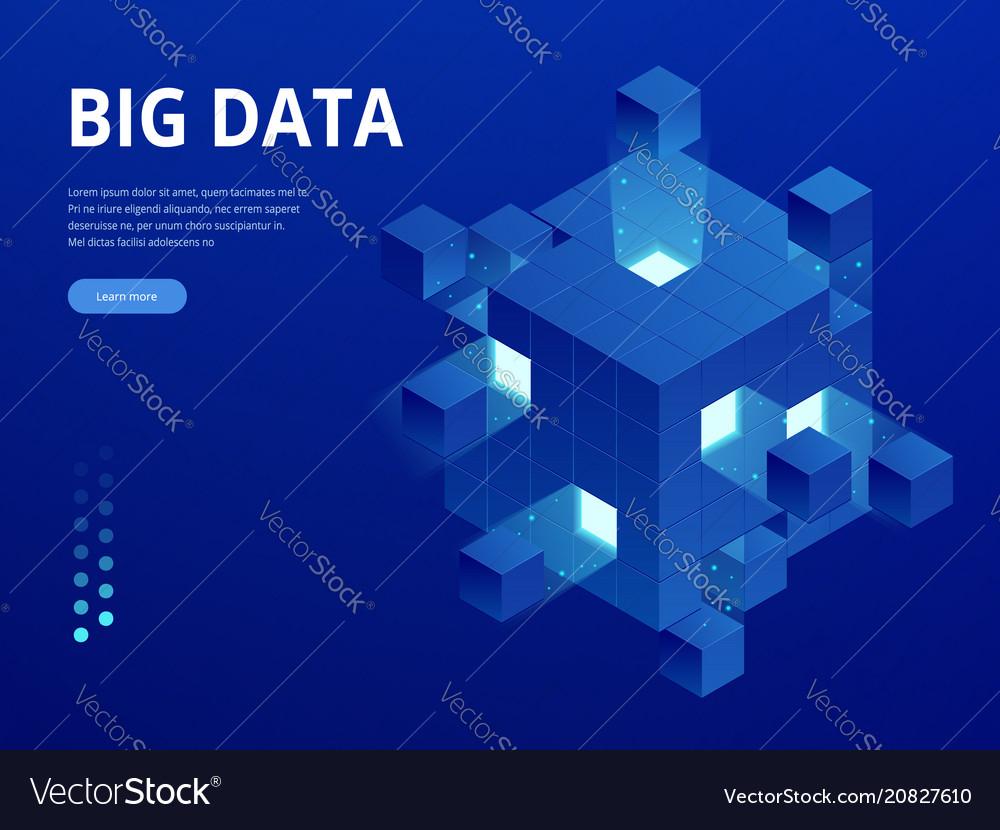 Isometric digital technology web banner big data