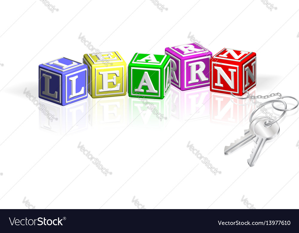 Learn alphabet blocks attached to keys vector image