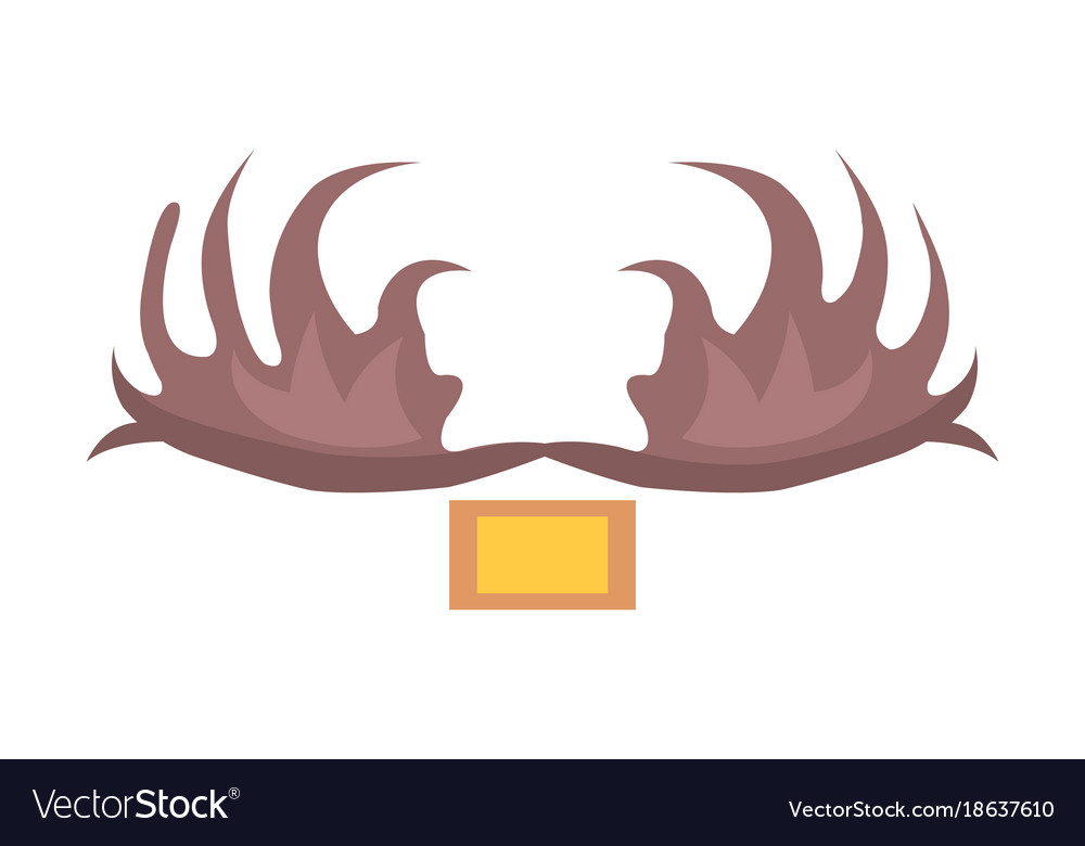 Moose Antlers Isolated Cartoon Style Royalty Free Vector