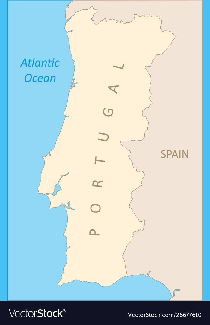 Map Of Spain By Region.Portugal Region Map Vector Image