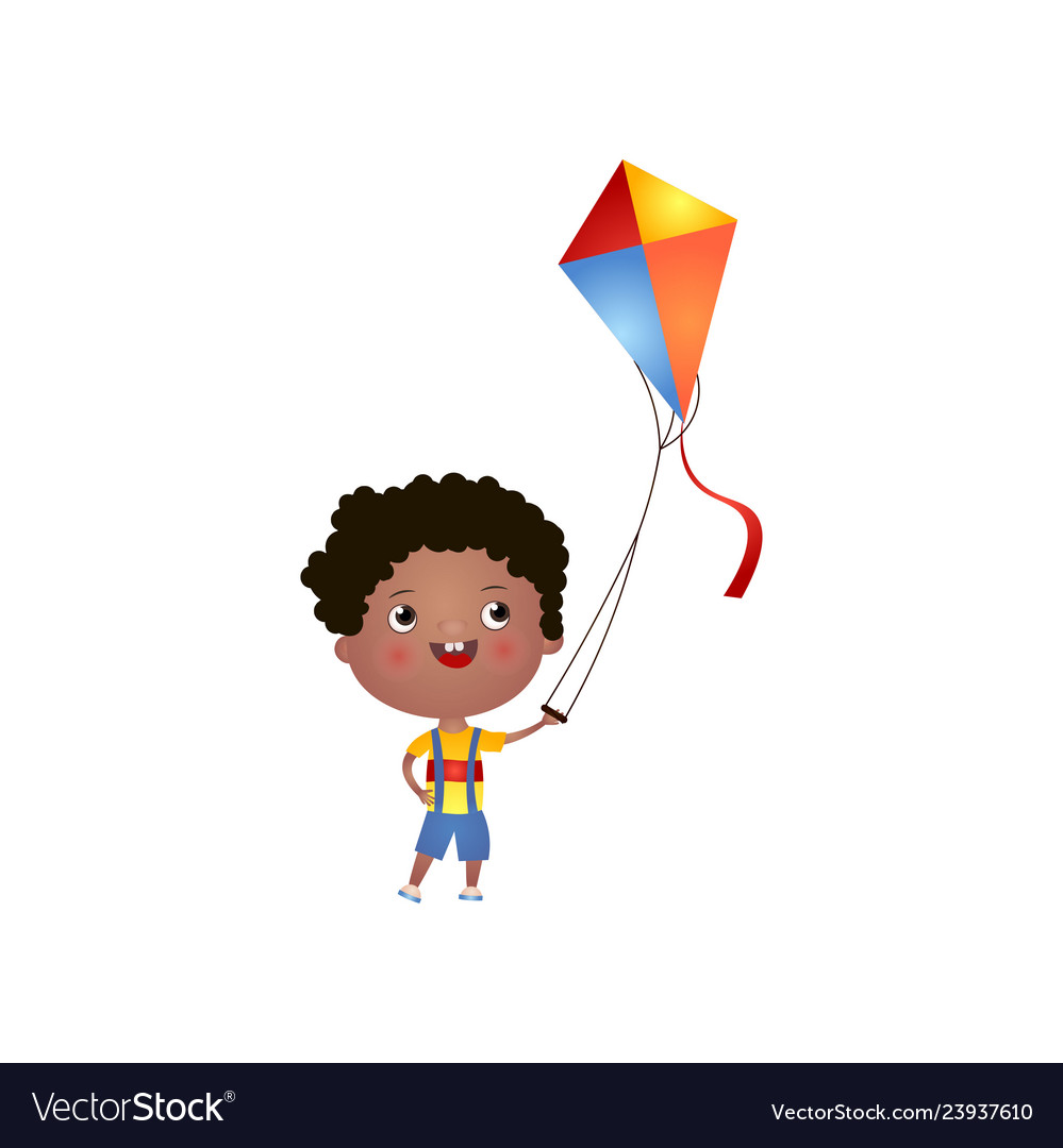 Smiling Black Boy With Curly Hair Plays With Kite Vector Image