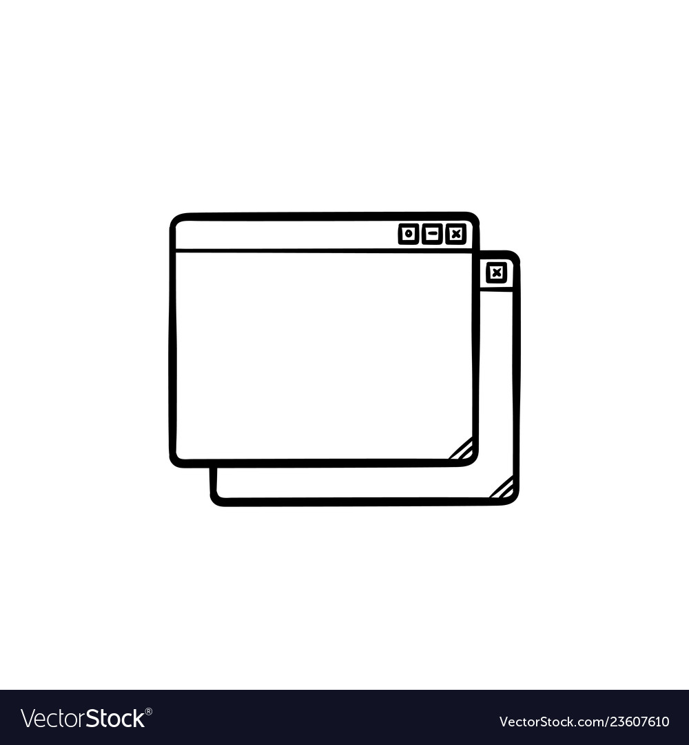 Two browser windows hand drawn outline doodle icon