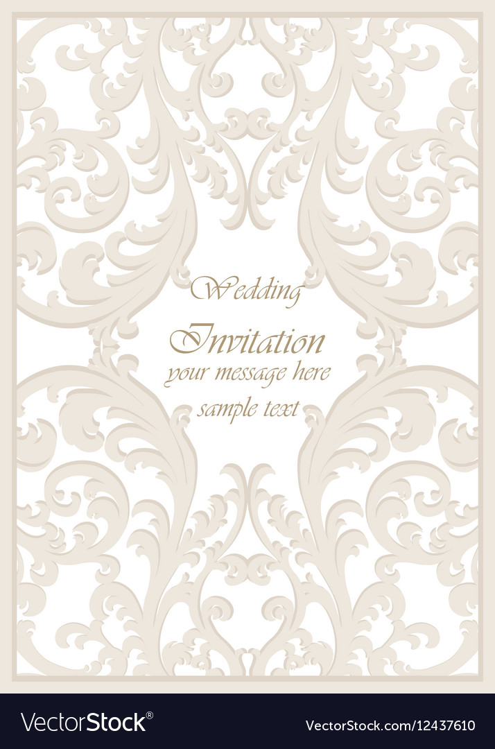 Vintage Classic Wedding Invitation Card Royalty Free Vector