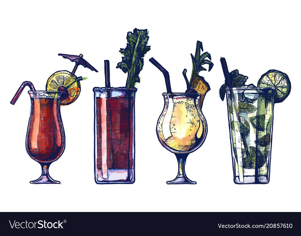 Watercolor alcohol cocktails set vector image