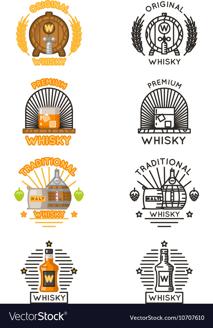 Whisky logo set alcohol drinks logotypes