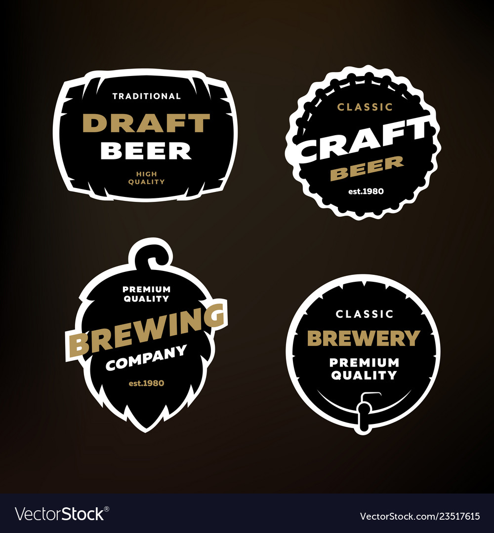 A set of emblems logos on the theme of brewing on