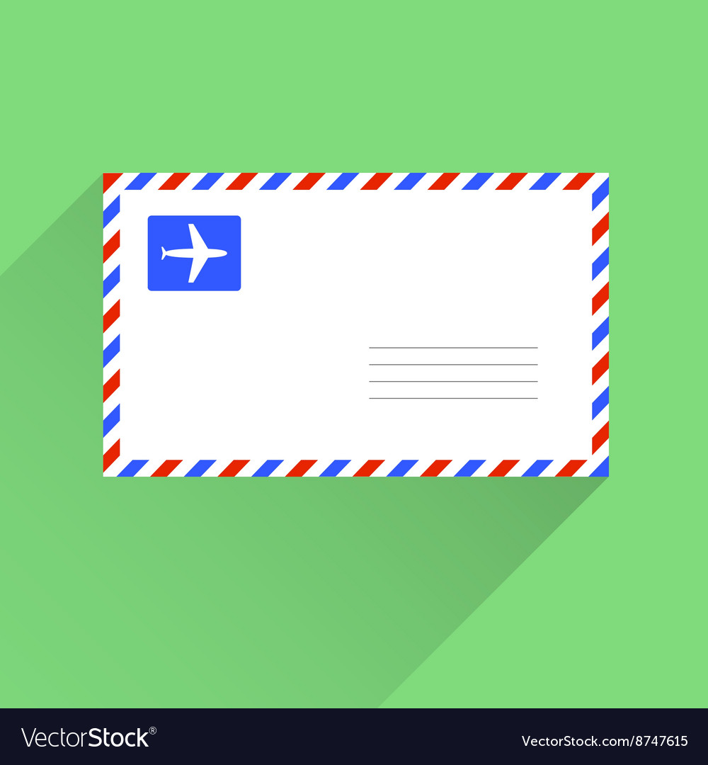 Air mail blank letter envelope flat style