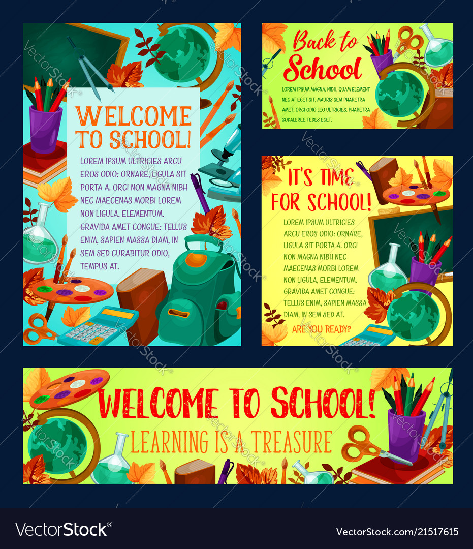 Back to school banner and greeting card design vector image m4hsunfo