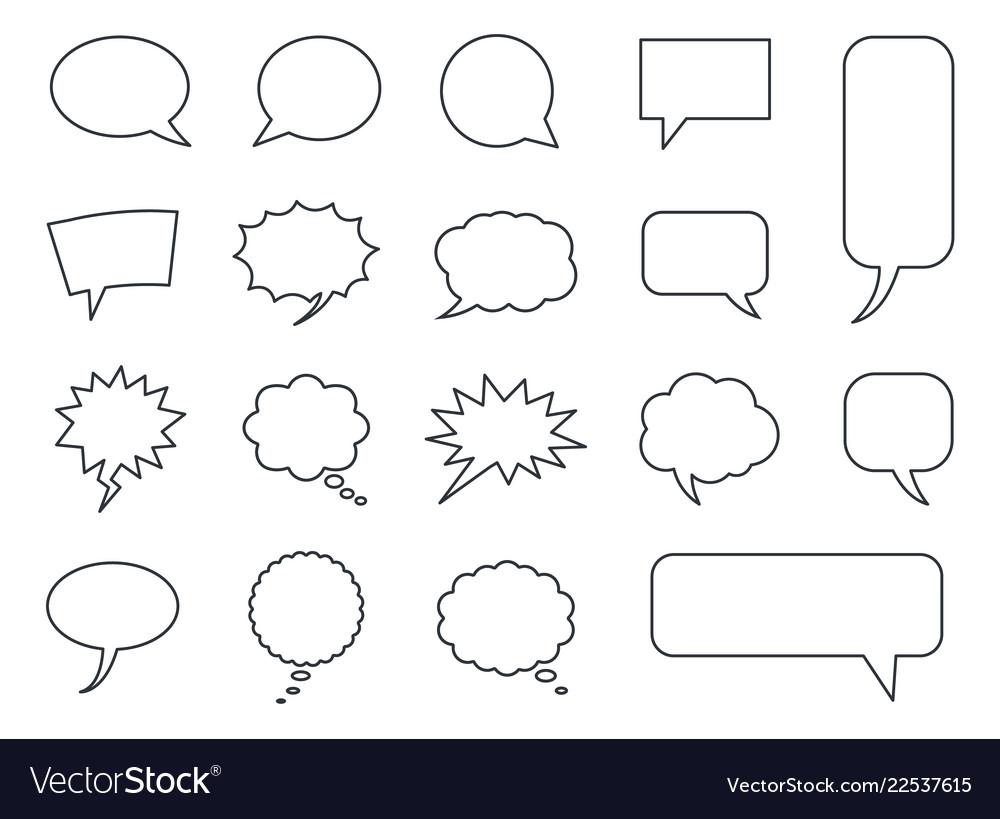 Blank empty speech bubbles set in