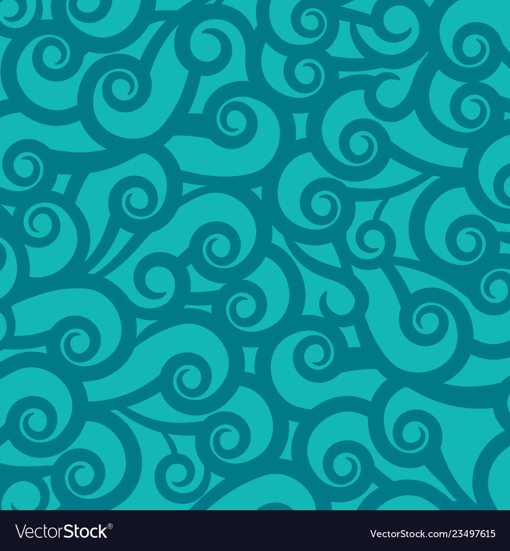 Blue green background with wavy pattern ornament