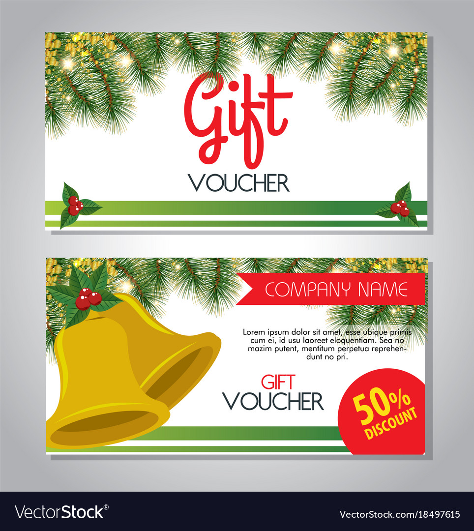 Christmas gift voucher gift card Royalty Free Vector Image