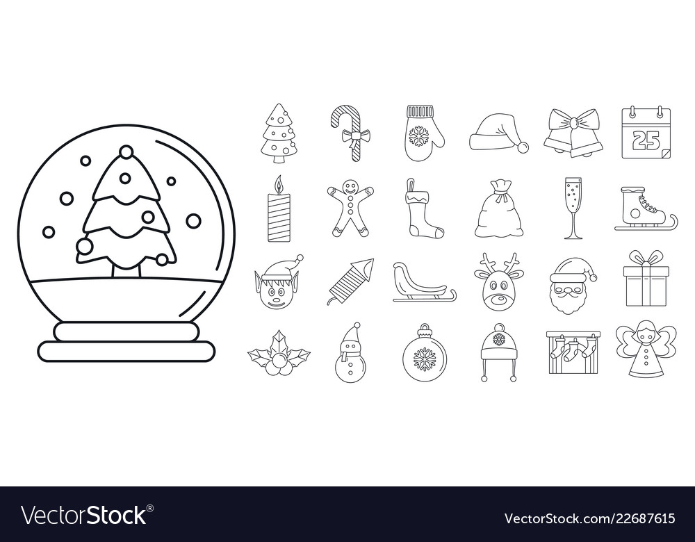 Christmas holiday icon set outline style