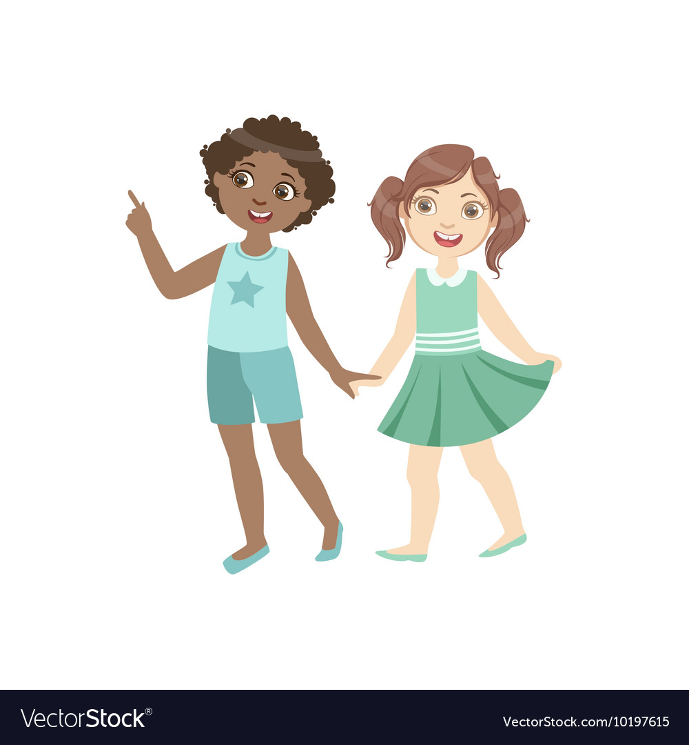 Couple of kids walking together holding hands vector image