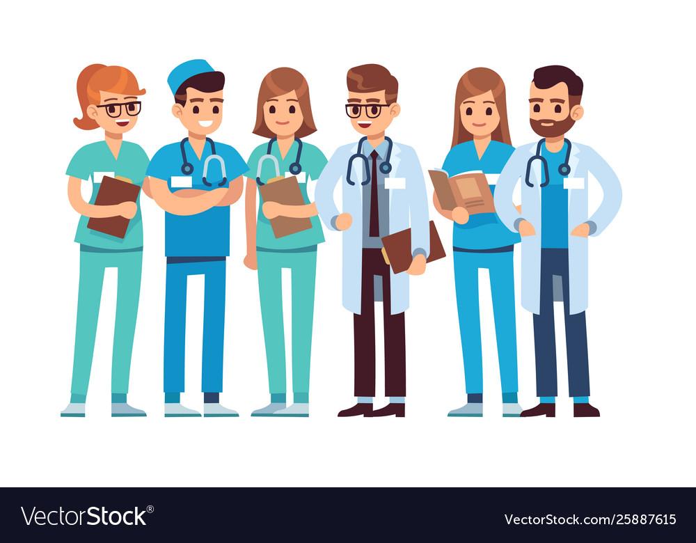 Doctors set medical staff team doctor nurse