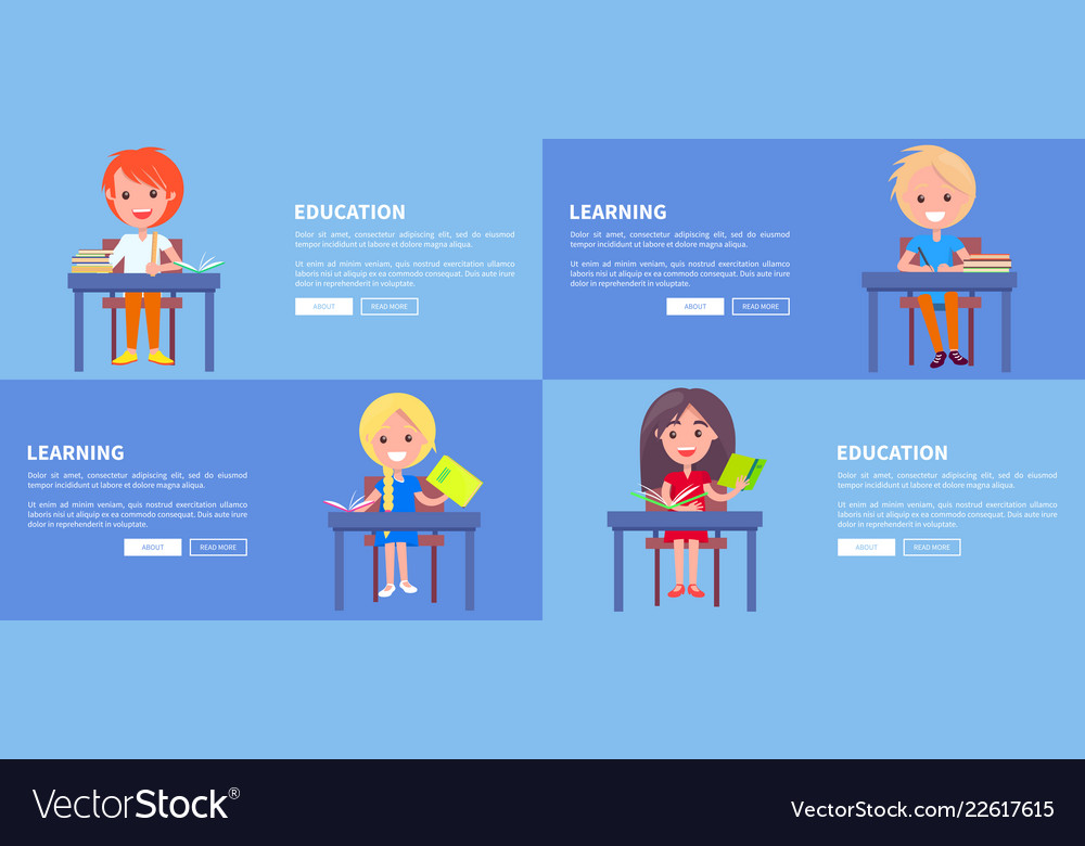 Education learning set of posters with boy and