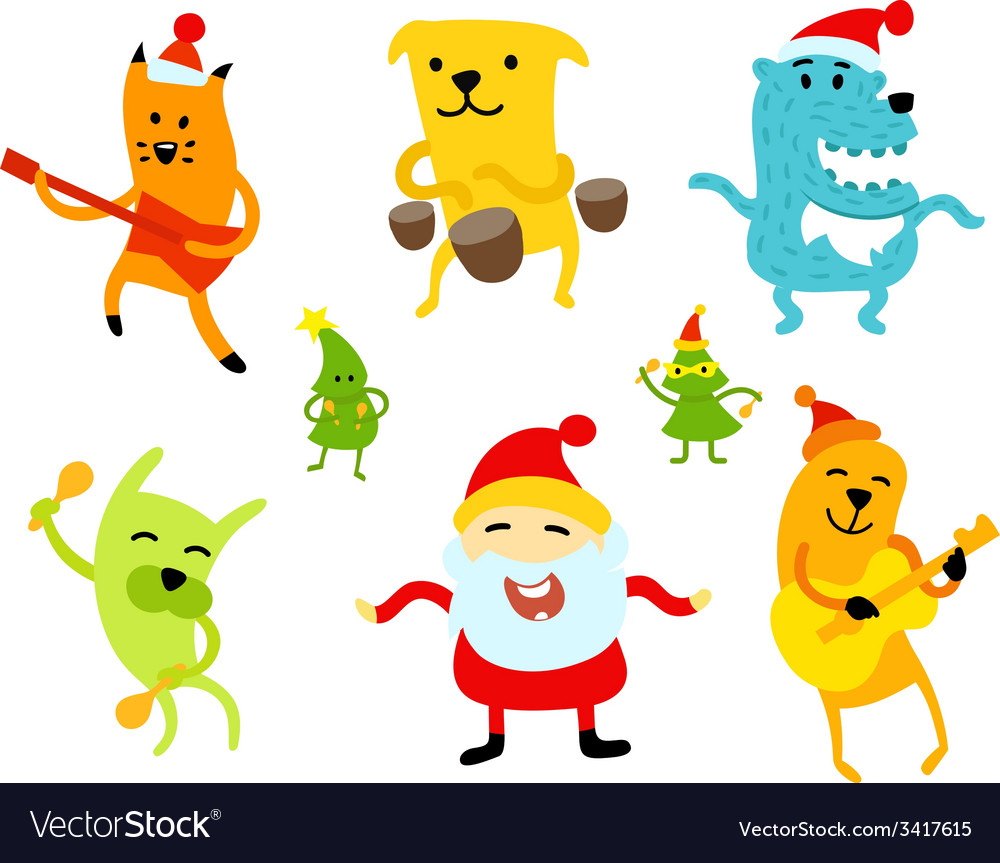 Funny new year musicians animals Royalty Free Vector Image