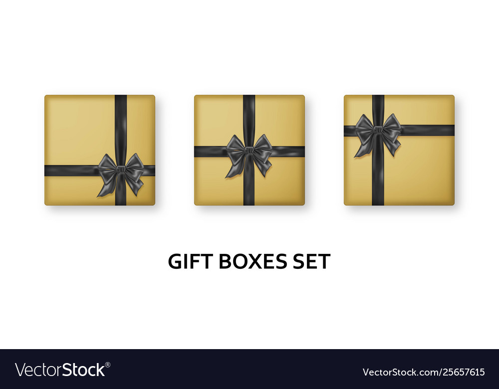 Golden gift boxes with black ribbons and bows
