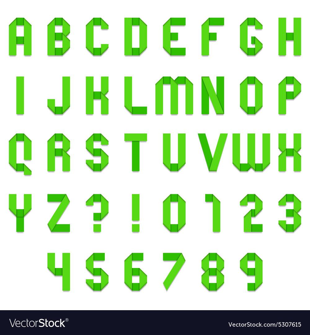 Green Folded Paper Font