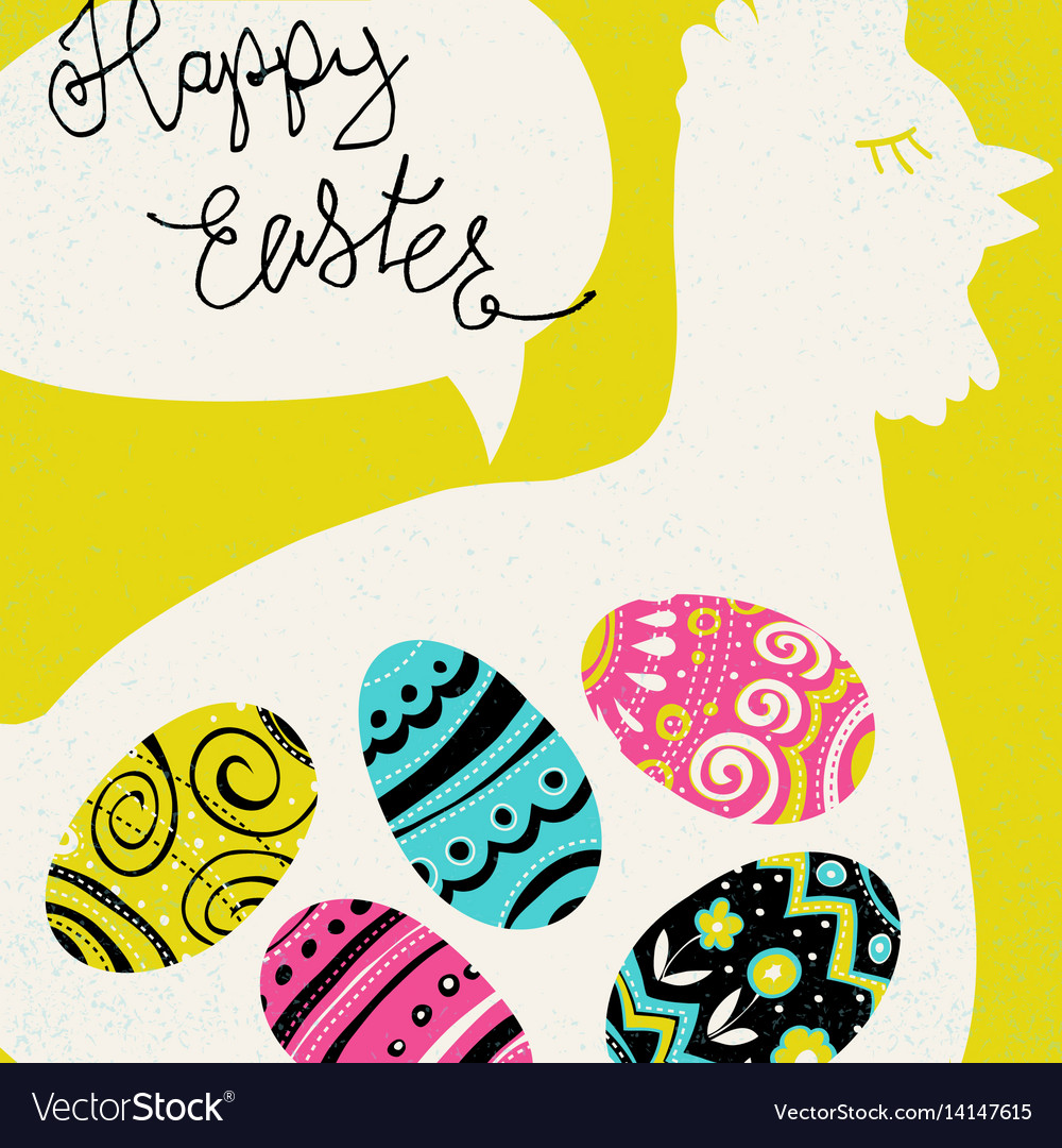 Happy easter greetings bright eggs and chicken