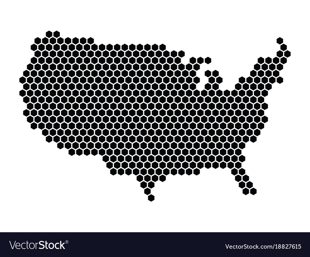 Usa Map Black.Hexagonal Mosaic In A Shape Of Usa Map Black Vector Image