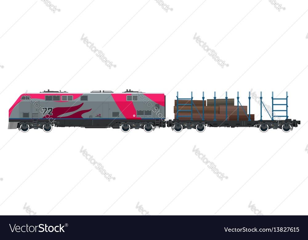 Locomotive with platform for timber transportation vector image