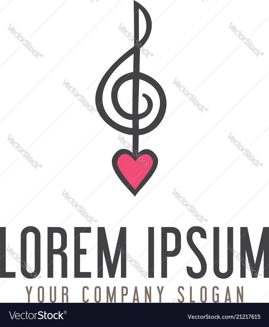 Love music note logo design concept template