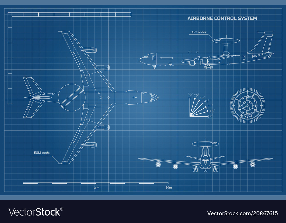 Outline blueprint of military aircraft