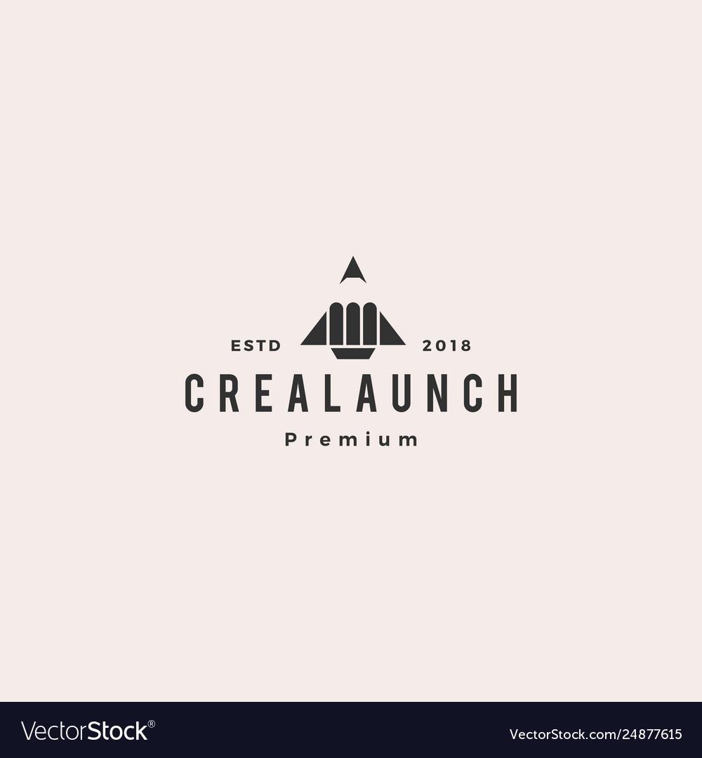 Pencil rocket launch logo icon