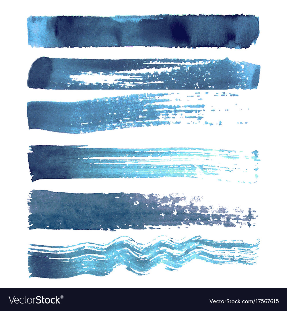 Set of blue navy brush strokes