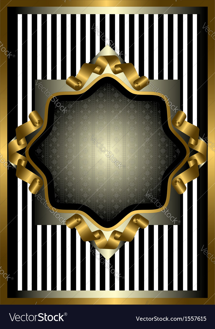 Silver frame with gold decor on striped background