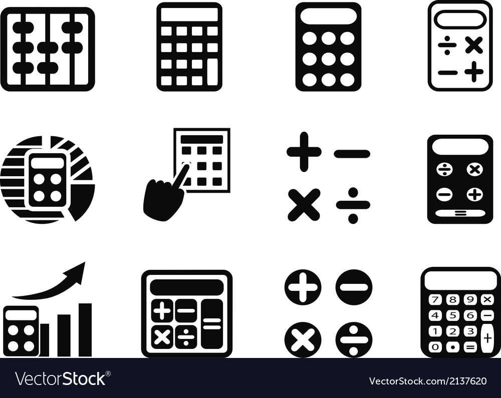 Black Calculator icons set vector image