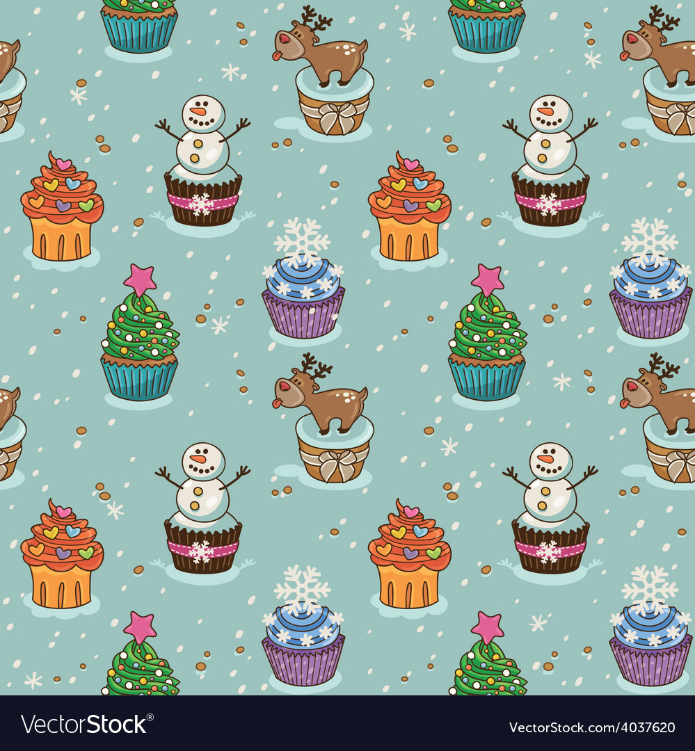 Christmas seamless pattern with cupcakes