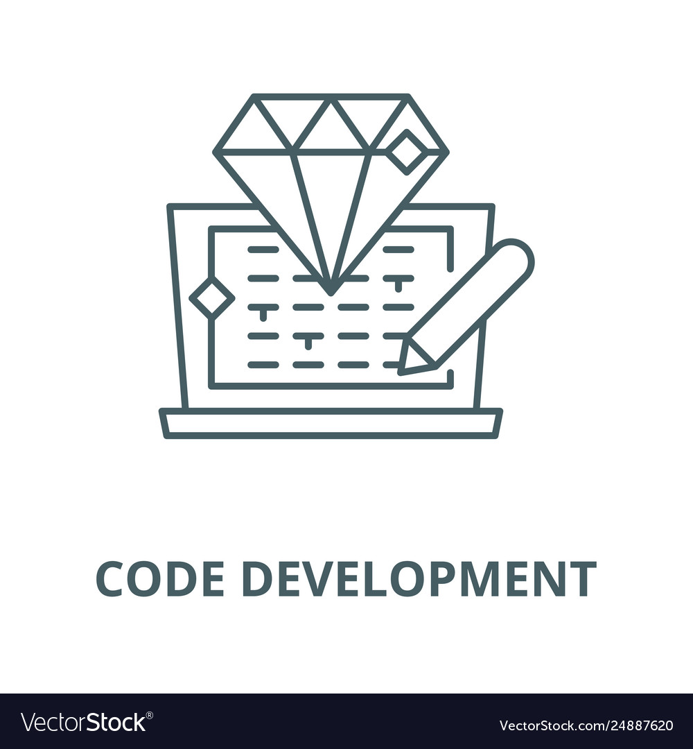 Code development line icon code