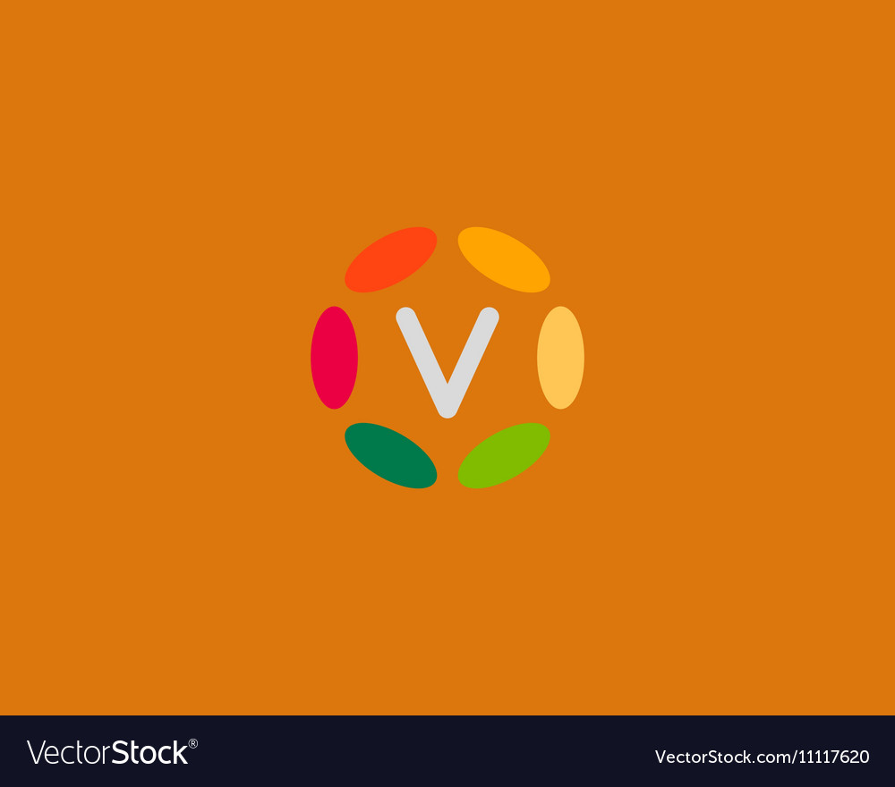 Color letter V logo icon design Hub frame vector image