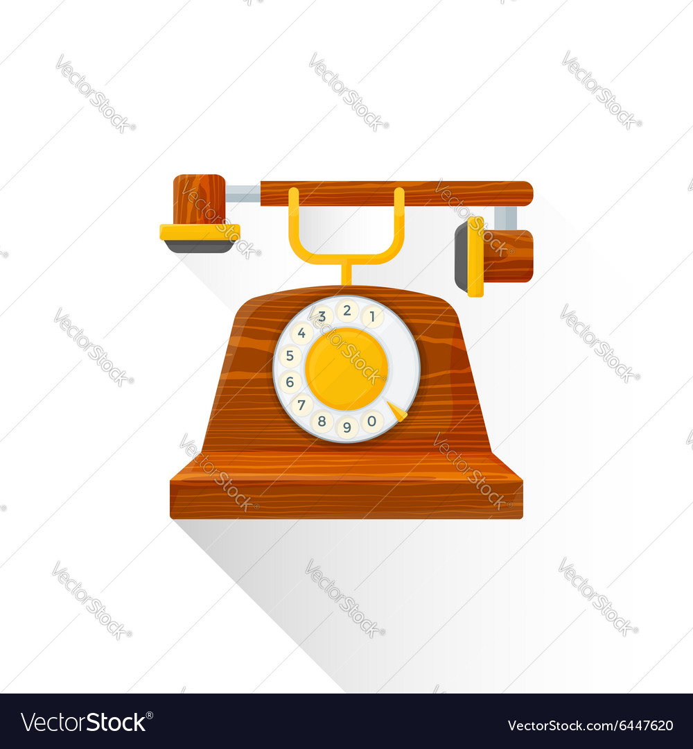 Flat style vintage wooden dial phone icon