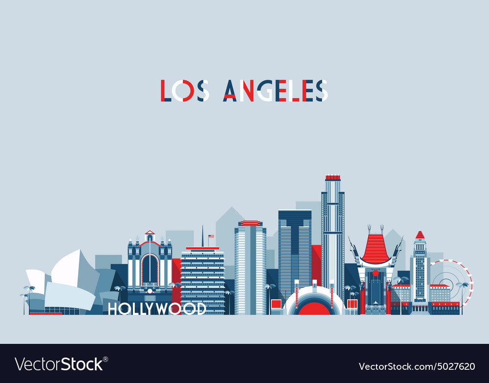 Los Angeles United States City Skyline Flat