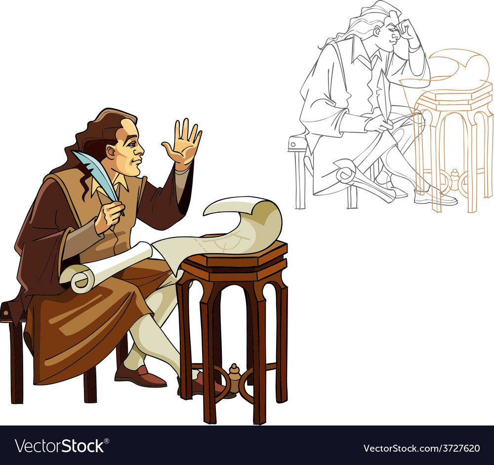 Medieval man with a pen and scrolls vector image